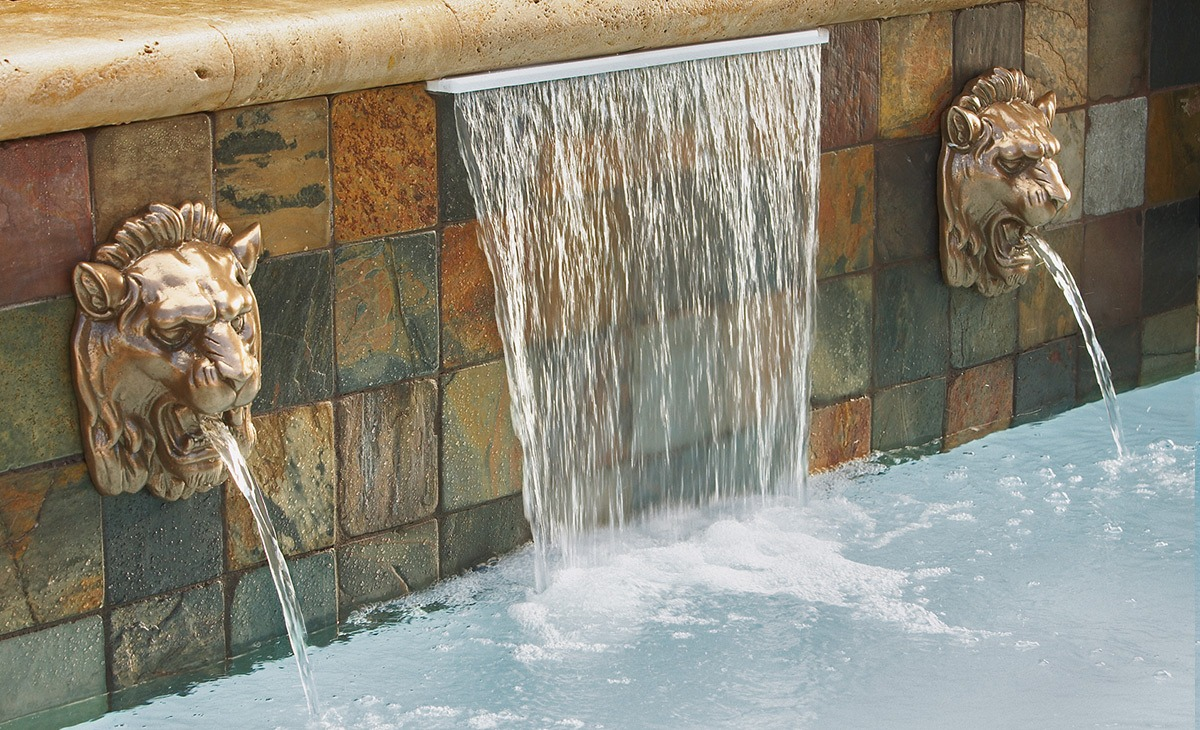 Pool water features and waterfalls